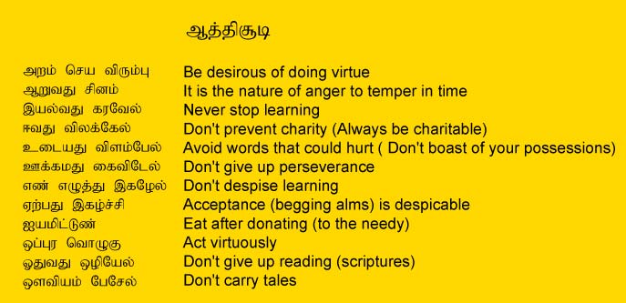 Tamil Poet Auvaiyar Saying