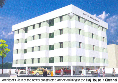 Architectural view of the annex building to the Haj House in Chennai