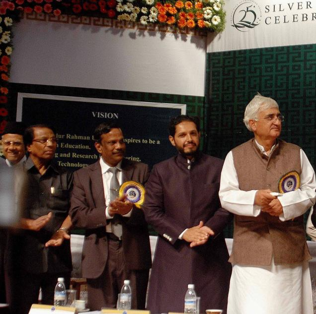Union Minister of Water Resources and Minority Affairs, Salman Khurshid, unveiling a plaque to mark the foundation-stone laying for a new administrative building during the inaugural of silver jubilee celebrations of the B.S. Adbur Rahman University at Vandalur near Tambaram on 11/02/2011. (From right): NDM Sathak, G. Viswanathan, Chancellor, VIT University, Vellore; P. Kanniappan and Abdul Qadir Rahman Buhari, Vice-Chancellor and Pro-Chancellor respectively of the university, are in the picture.