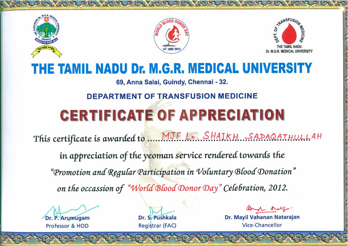 World Blood Donor Day on 14th June 2012