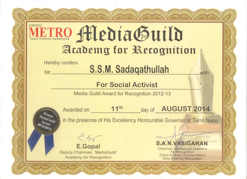 Media Guild Award Certificate.