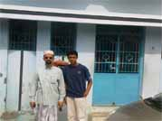 My nephew Mr.Hasan Fuaad and Myself standing in front of APJ Abdul Kalam's House at Rameswaram on 28/12/2009.