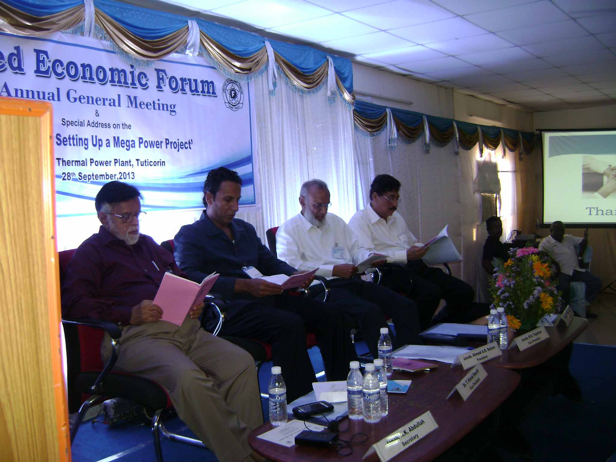 Anuual General Body Meeting of the United Economic Forum held on 28th September 2013 at Mutiara Thermal Power Plant, Melamarudur Village, Tuticorin, Tamil Nadu.