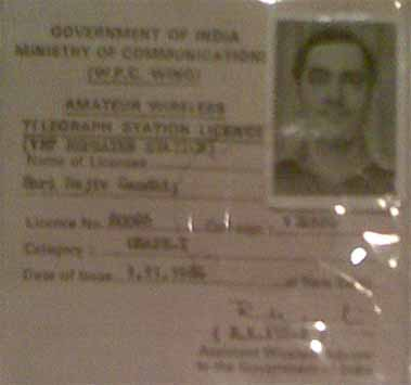 Late Rajiv Gandhi - VU2RG, Amateur Radio Grade - I Licence issued by WPC Wing on 1 Nov 1974.