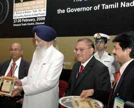 Gold Jewellery India International exhibition at Chennai Trade Centre on February 20, 2006. H.E.Surjit Singh Barnala, Governor of Tamil Nadu, L.K.S. Syed Ahamed, President, Madras Jewellers and Diamond Merchants Association.
