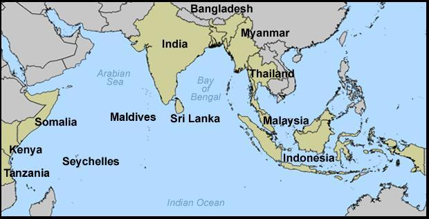 Countries Affected by Tsunami